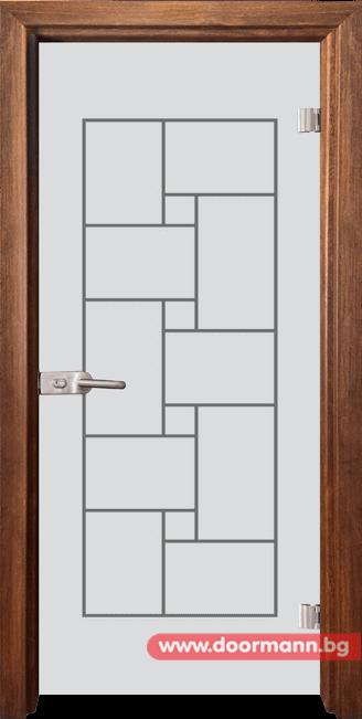 Стъклена врата модел Gravur 13-7 - Златен дъб